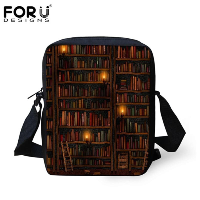 FORUDESIGNS Vintage Book Shelf Messenger Bags for Women Ladies Mini Cross-body Handbags Sleepy Kitty Cat Schoolbag Black Friday