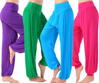 Adult Costumes Pleated Solid Loose Bloomers Capri Trousers For Women Harem Hip Hop Dance Practice Pants
