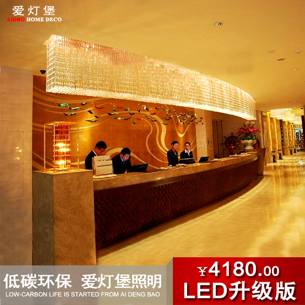 Luxury hotel lobby front desk lamp arc lamp crystal lamp bar ...
