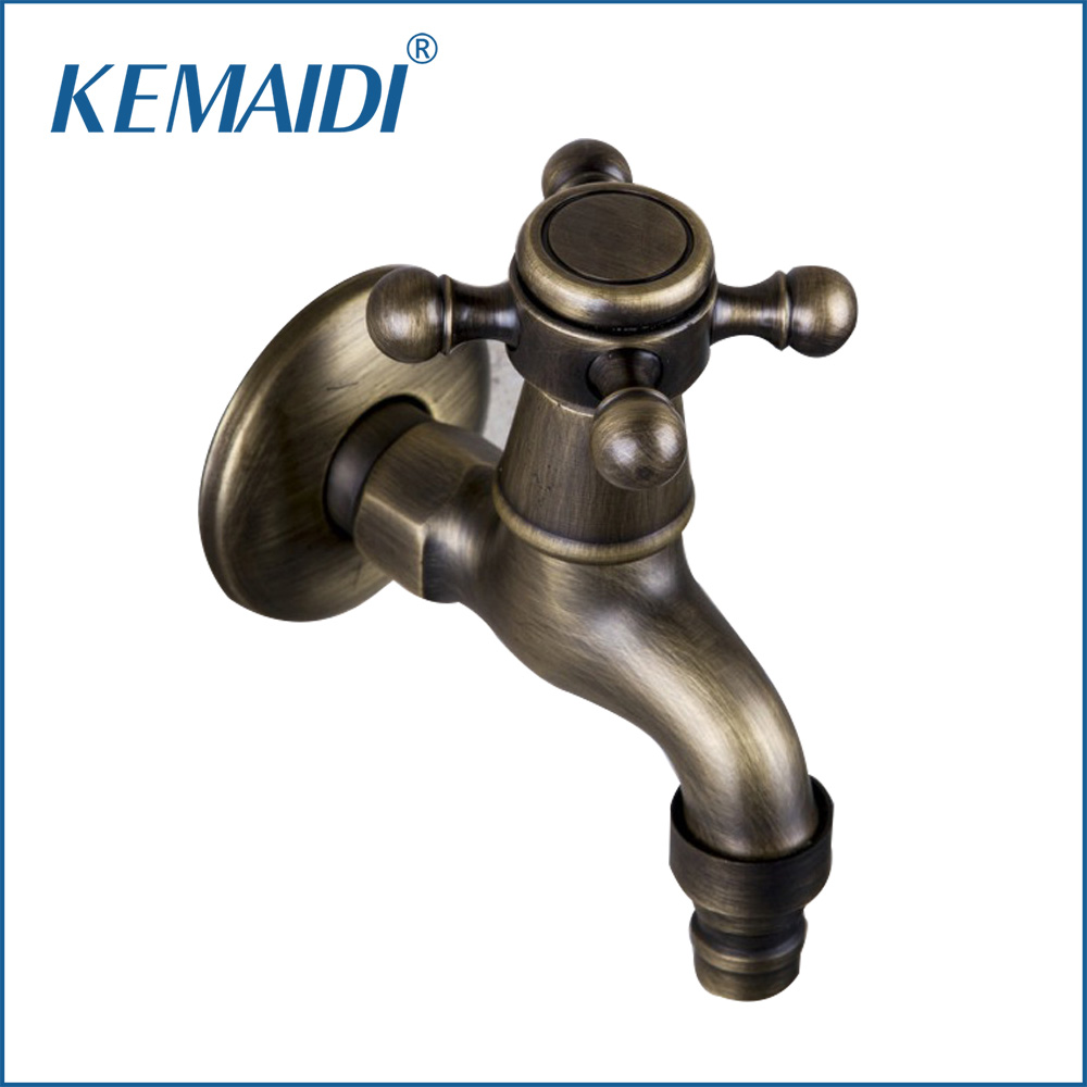 KEMAIDI Bathroom New Washing Machine 360 Antique Brass Single Cold Wall Mounted Wash Basin Sink Bathroom Tap Faucet 2009F