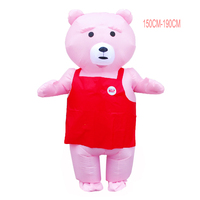 Teddy Bear Inflatable Costume Funny Anime Mascot Costume Halloween Adult Animal Fancy Party Dress With Red Apron