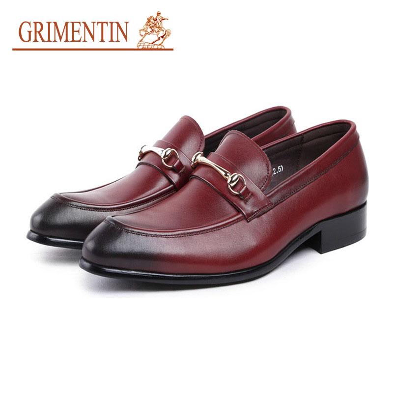 GRIMENTIN men dress shoes genuine leather italian designer slip on business wedding shoes formal shoes men shoes genuine leather italian designer fashion dress shoes classic formal brogue shoes for male footwear wedding business