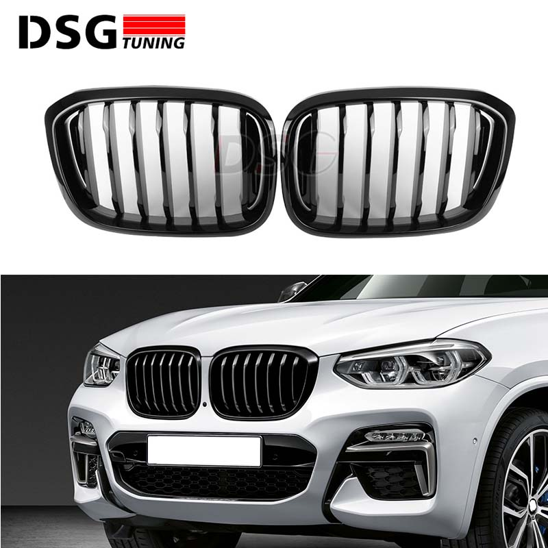 Front Kidney Grill For BMW G01 G02 Bumper Racing Grille X3 X4 ABS Gloss Black Matt