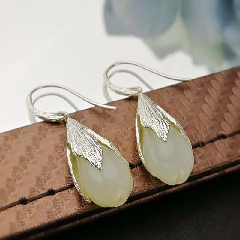 Silver 925 Earing Natural Gemstone Jade Flower Earrings For Women Ladies Fine Jewellery Bisuteria