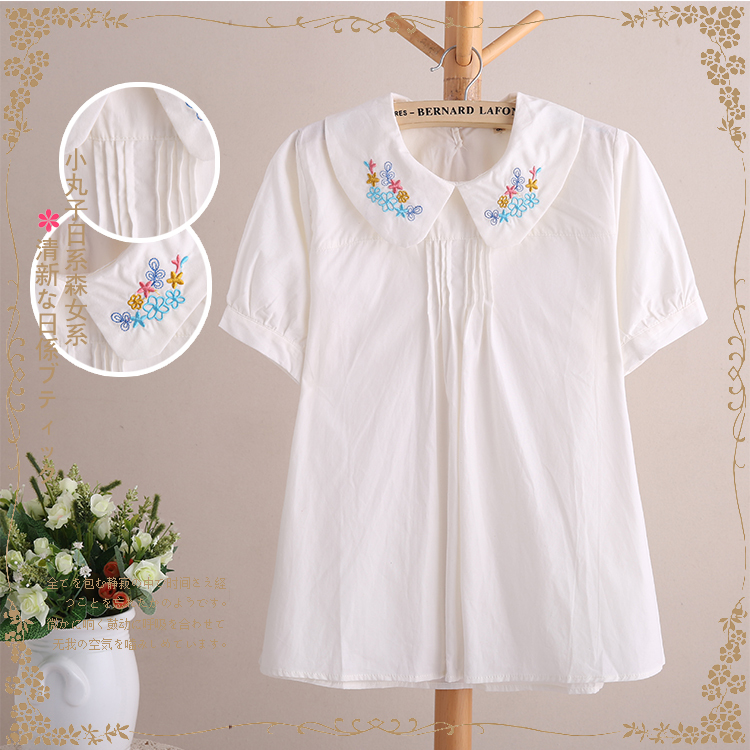 Women Blouses Ladies White Cotton Cute Blouse Summer Tops Short