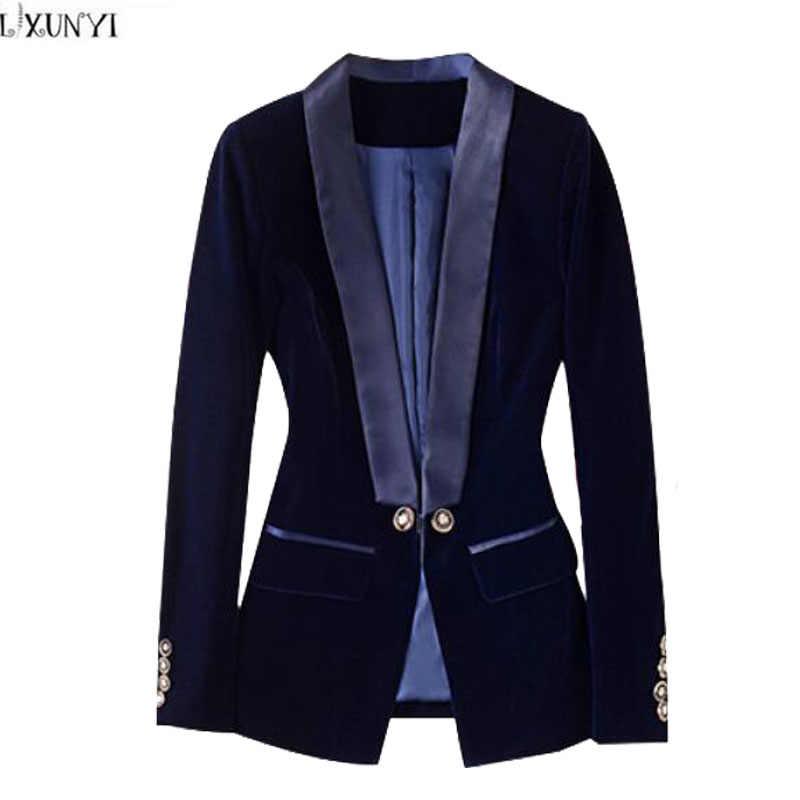 ff2f04149200f LXUNYI Spring 2018 New Velvet Blazer Women Long Sleeve Formal Slim Office  Ladies Blazers Short Suit