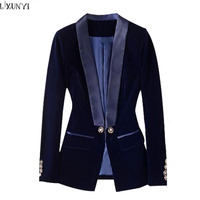 LXUNYI Spring 2019 New Velvet Blazer Women Long Sleeve Formal Slim Office Ladies Blazers Short Suit Coat jacket Fall Blue Black