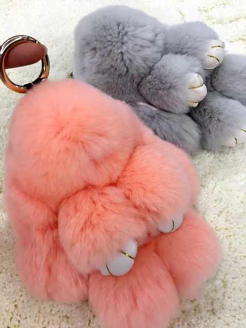 Peach Pink Pom poms Bunny Dolls Keychains Cute Purse Charm Real Rabbit Fur keyring Car Keychains Tote Wallet Pendants Charms