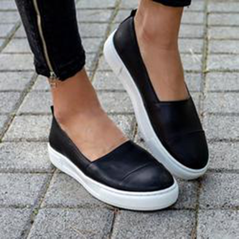 LOOZYKIT 2019 Spring Women Leather Loafers Slip-on Ballet Flats White Black Shoes Woman Slip On Loafers Boat Shoes Moccasins