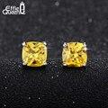 Effie Queen AAA Luxury Yellow Zircon Crystal Stud Earrings Platinum Plated Jewelry for Women New Popular Stud Earrings DAE016