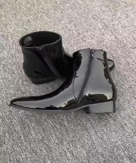 a0ecf666367 LANSHITINA style patent leather Chelsea boot male mirror leather Booties  low heel cool point toe mujer boats wedding shoes men