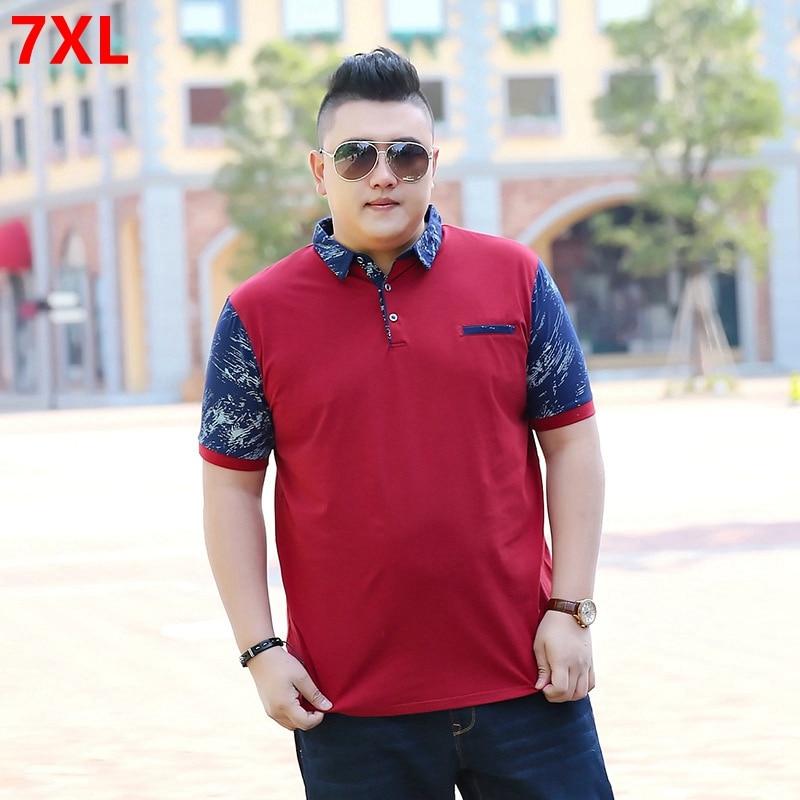 Summer men's casual cotton large size   polo   shirt men big size thin short sleeves   Polos   7XL 6XL 5XL 4XL 3XL 2XL