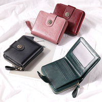 Women's Wallet Leather Small Luxury Brand Wallet Women Short Zipper Ladies Coin Purse Card Holder Femme Red/Blue