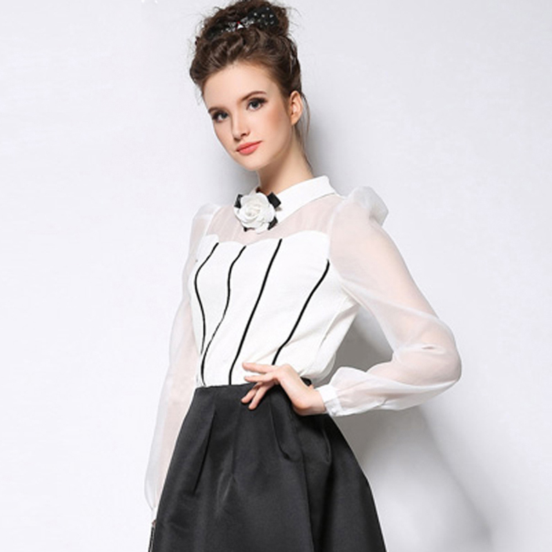 ộ ộ Loyca Women Peter Pan Collar White Chiffon Shirts Blouse