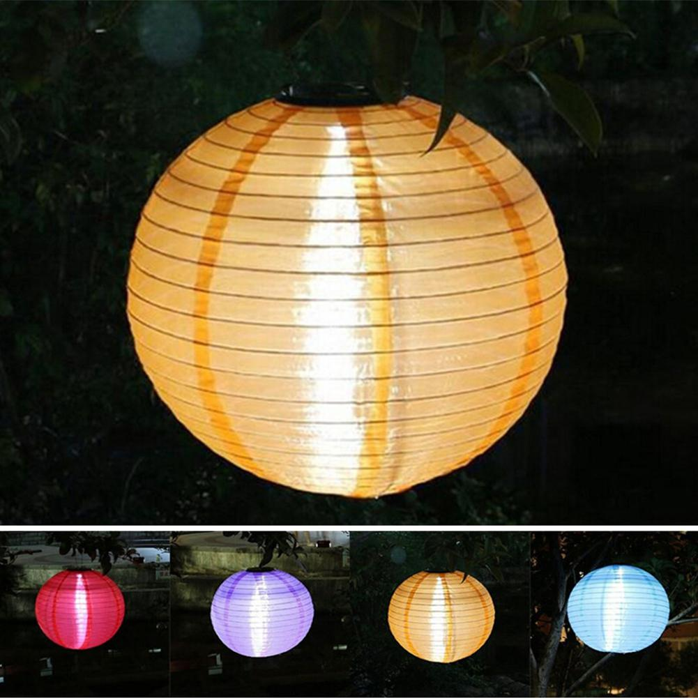 12inch Solar Chinese Paper Lantern Ball String Light Waterproof Outdoor Hanging Lamp Yard Garden Festival Wedding Decor