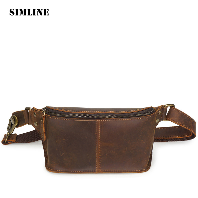 SIMLINE High Quality Vintage Casual Crazy Horse Genuine Leather Men Men's Waist Bag Pack Shoulder Crossbody Bags Packs For Male femalee 2018 latest style women s shoulder bags 100% genuine sheepskin leather rivet crossbody bag fashion casual waist packs