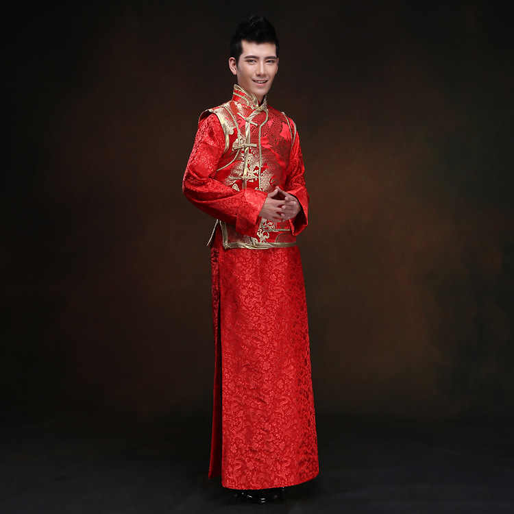 Detail Feedback Questions About Mens White Tunic Chinese Red Wedding