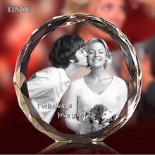 Customized Crystal Round Photo Frame Valentines Day Personalized Gift Picture Frames With Glass Stand Home Ornament Decoration