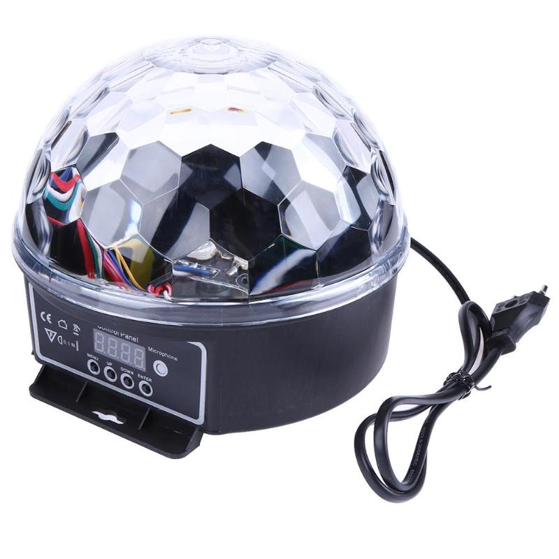 6 Colors Crystal Magic Ball LED Mini Stage Lamp Sound Control 15W Stage Lighting Disco Laser Light Party Lights Laser