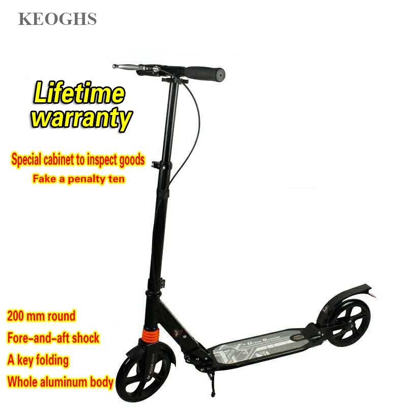 Image 2 - adult children kick scooter foldable PU 2wheels bodybuilding all aluminum shock absorption urban campus transportation-in Kick Scooters,Foot Scooters from Sports & Entertainment