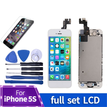 1Pcs Full assembly LCD screen for iPhone 5S LCD Display LCD Touch Screen Digitizer full Replacement pantalla+Button+Camera replacement lcd screen assembly for iphone 5s