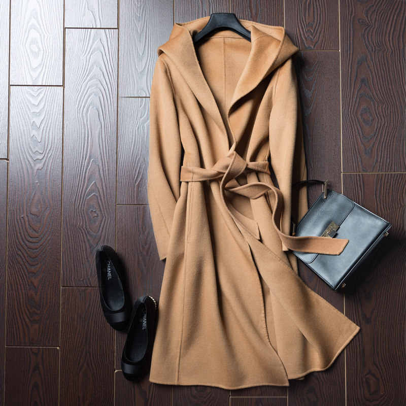 BELIARST 2019 Autumn and Winter Pure Wool Coat It Moman  Casual Hooded Cardigan Handmade Cashmere Double-Sided Jacket
