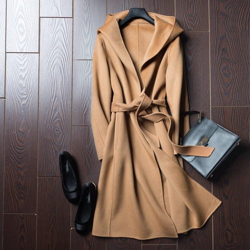 BELIARST 2017 otoño e invierno abrigo de lana pura es Moman Casual con capucha Cardigan hecho a mano de Cachemira de doble cara chaqueta