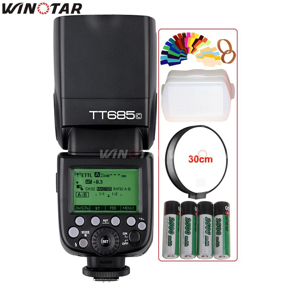 Godox TT685C 2.4G HSS 1/8000 s E-TTL II Flash Speedlite + 4x2500 mAh Batterie pour Canon 800D 760D 750D 700D 650D 600D 80D 70D 60DGodox TT685C 2.4G HSS 1/8000 s E-TTL II Flash Speedlite + 4x2500 mAh Batterie pour Canon 800D 760D 750D 700D 650D 600D 80D 70D 60D