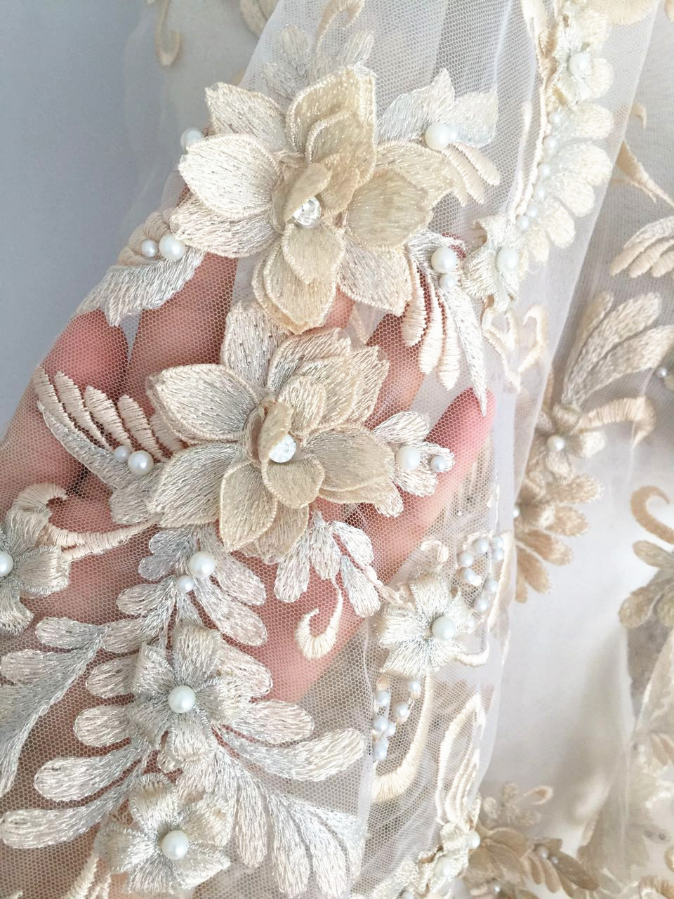 Lux 3D Pearl Beaded Blossom Floral Embroidery Lace Fabric in Champagne by Yard Haute Couture font