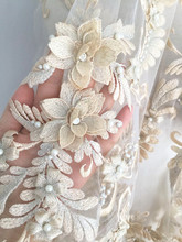 Lux 3D Pearl Beaded Blossom Floral Embroidery Lace Fabric in Champagne by Yard , Haute Couture Bridal Wedding Gown Fabric