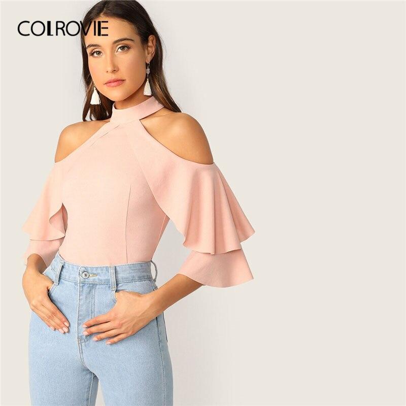 COLROVIE Pink Ruffle Halter Cold Shoulder Bell Sleeve Elegant   Blouse     Shirt   Women Clothing 2019 Workwear Office Ladies   Blouses