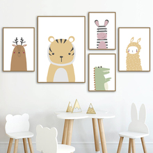 Tiger Bear Rabbit Hippo Alpaca Dinosaur Wall Art Canvas Painting Nordic Posters And Prints Animal Pictures  Kids Room Decor