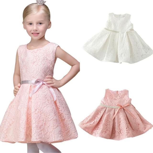 8d2d2c85038f Rosa Bianco Abiti fiore per le ragazze per la Cerimonia Nuziale Di  Compleanno Del Partito Senza