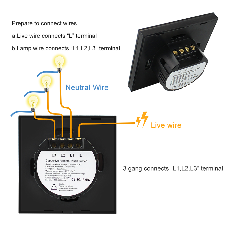 small resolution of 220v eu standard led light touch switch with remote control 1 2 3 gang wall light touch screen switch wireless remote control in switches from lights