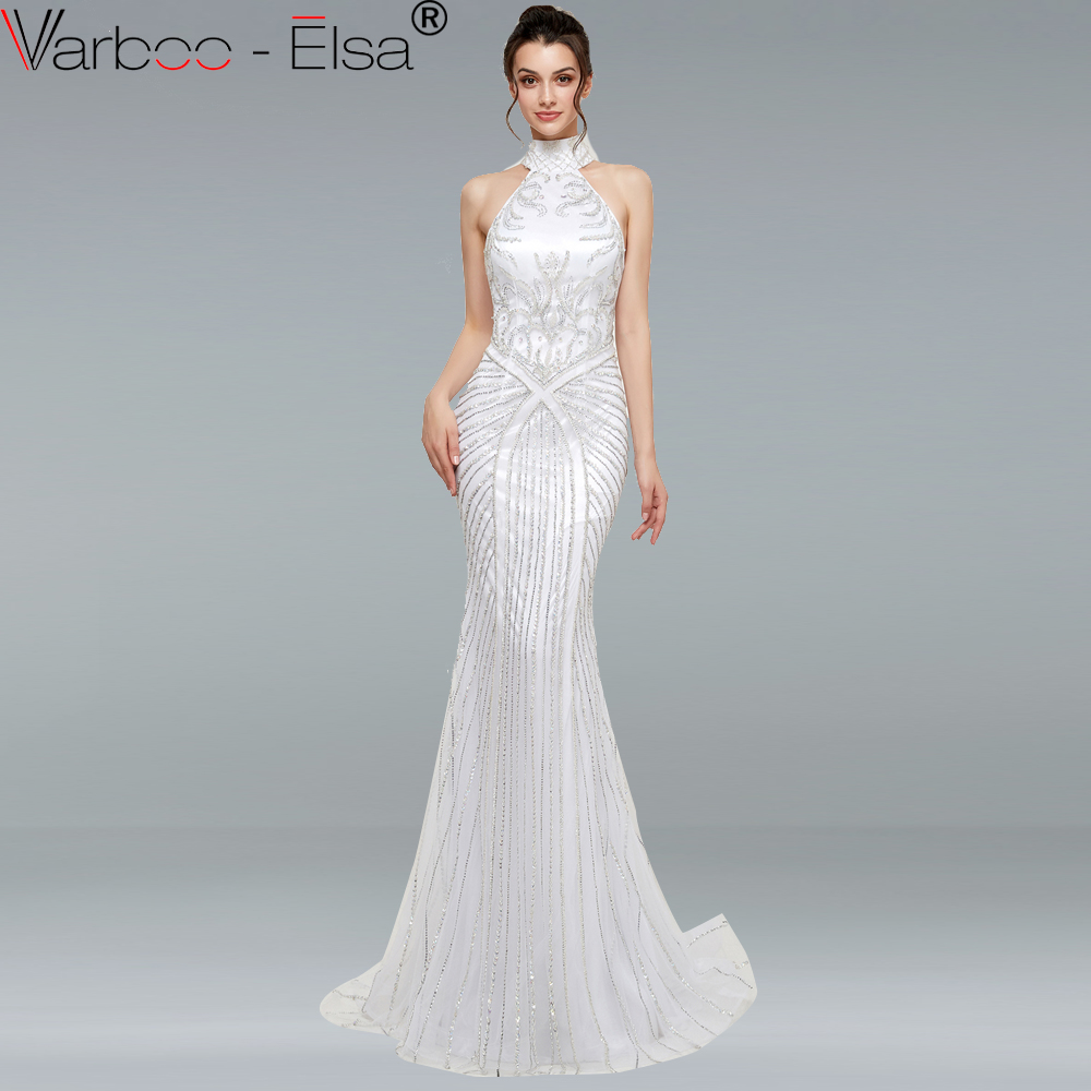 b02ee9568a2 VARBOO ELSA New White Backless Sexy Mermaid Evening Dress Sleeveless Full  Crystal Elegant Tulle Evening Gowns 2018 Real Photo
