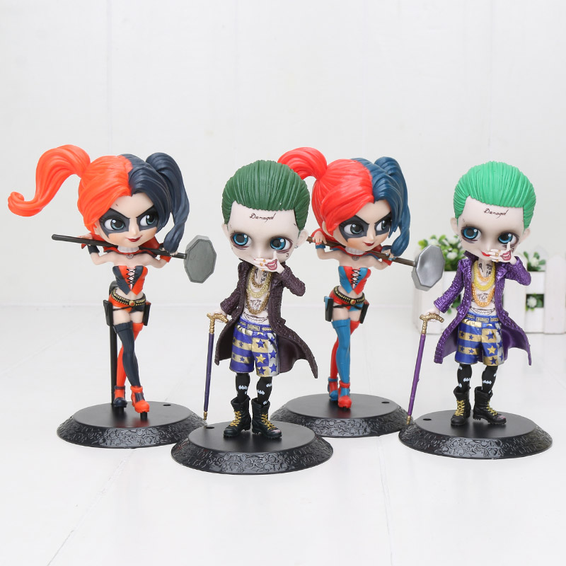 14cm Q Posket Suicide Squad Figure Toy Harley Quinn The Joker Catwoman PVC Figure Model Toy