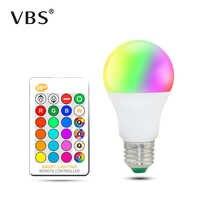 Lámpara de bombilla Led Rgb Ac85-265V Luz de punto regulable Magic Vacation Rgb iluminación + Control remoto Ir 16 colores 5W 10W 15W