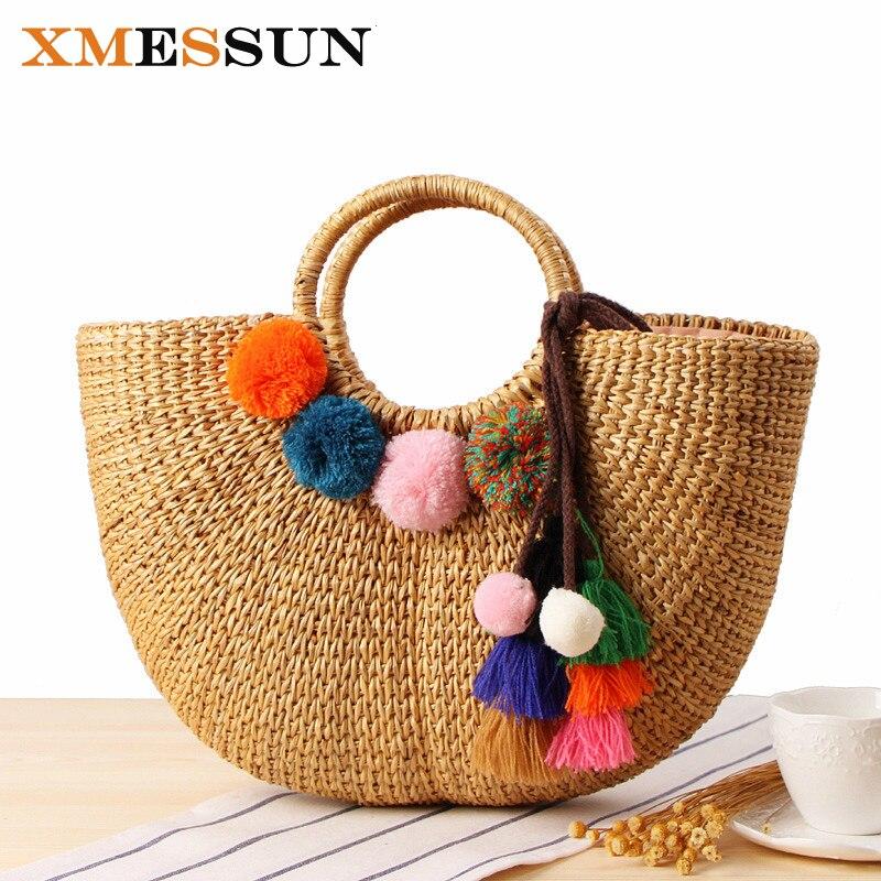 2018 Handmade Beach Bag Straw Totes Bag Summer Bags with Tassels Pom Pom Pompon Women Natural