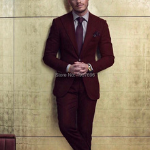 2018 Burgundy Groom Tuxedos for Men Suit Peaked Lapel Blazer Two Piece Jacket Pants Latest Style Male Suits