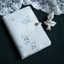 Fabric art Flower Original Spiral Ring Loose-leaf Notebook 6 Holes Blank line gr