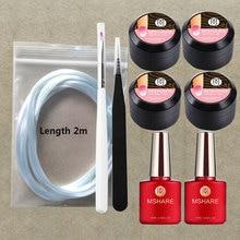 MSHARE Fiberglass Nail Extension Set kits UV Builder Gel Sets Fiber Glass 9pcs
