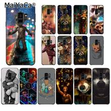 MaiYaCa Guardião Foguete Groot Raccoon borda Caixa Do Telefone para Samsung Galaxy S6 S7 Treeman S6 S10 Lite S10Plus S10E S9 além de(China)
