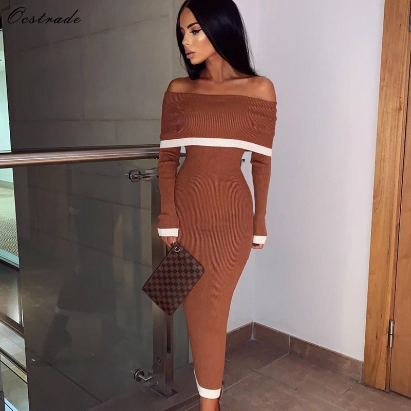 Ocstrade 2019 New Chic Women Brown Party Sexy Off Shoulder Bandage Dress Long Sleeve Bodycon Dress Rayon High Quality-in Dresses from Women's Clothing    1
