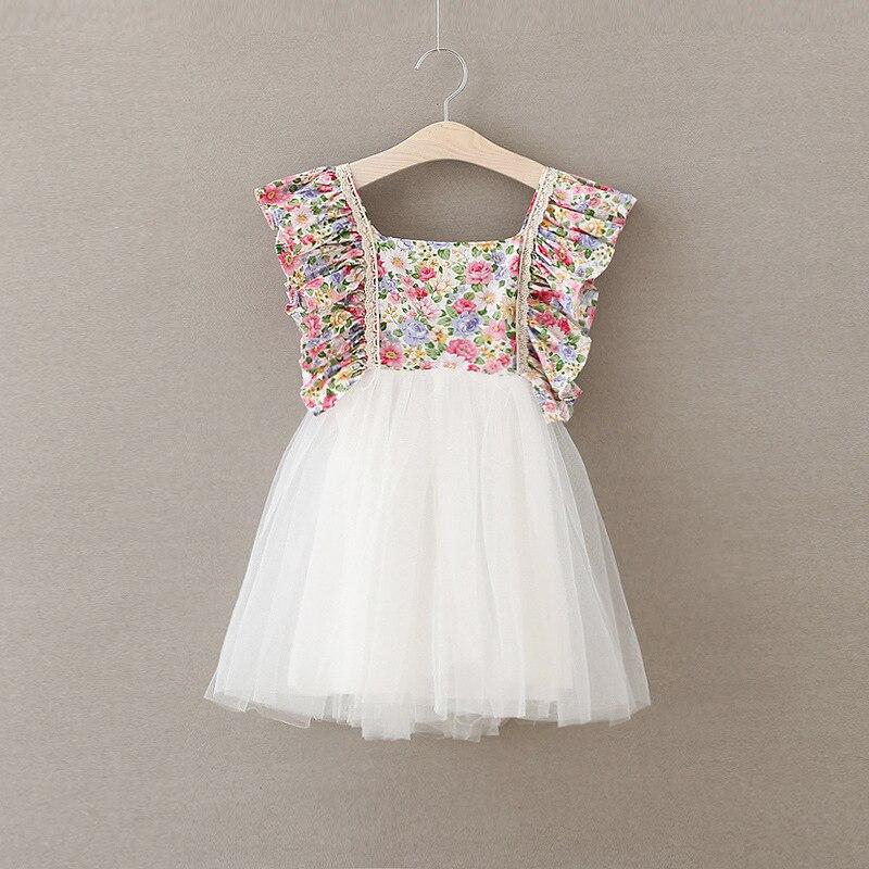 Обувь для девочек кружевные цветы свадебное платье Лето 2017 г. цветочный белый Кружево принцессы Платья для женщин элегантное симпатичное д... ...