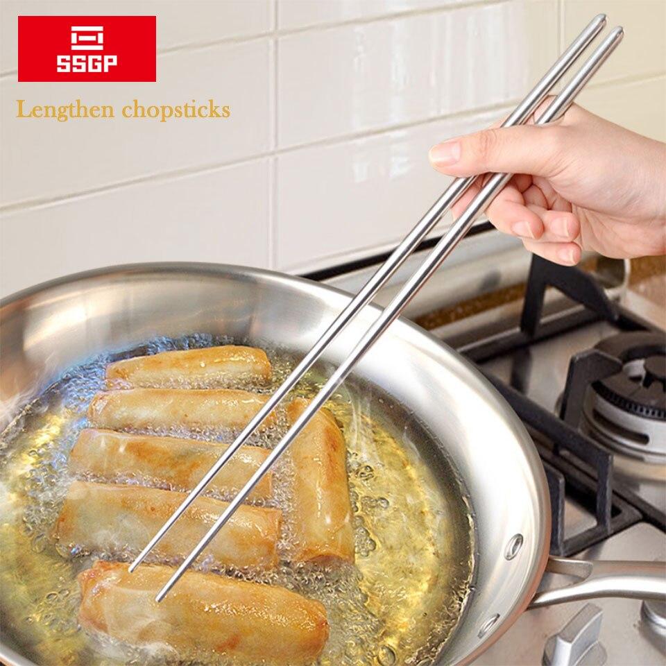 Удлиненные палочки для еды из нержавеющей стали многоразовые японские палочки для суши корейский горячий горшок лапша Жарка посуда китайские палочки для еды