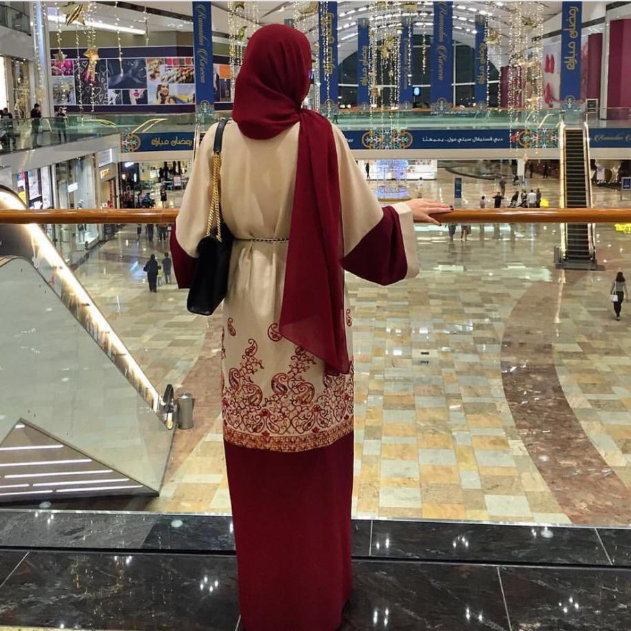 2018 fashion red print Muslim dress Women Abaya Middle East Long Robe Gowns Ramadan Dubai Arab Islamic Clothing Wj1881