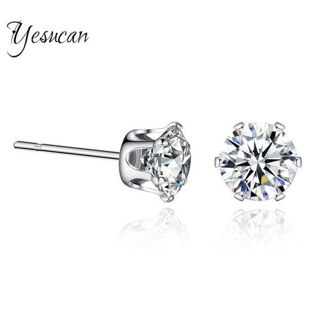 Women 925 Sterling Silver Zircon Stud Earrings rr4iI