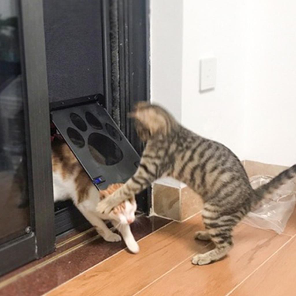 Hot Lockable Dog Cat Kitten Door Security Flap Door Nylon Mesh Footprint Animal Small Pet Cat Dog Gate Door Pet Supplies J17