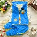 Дети весна осень мода мультипликационный персонаж дети свободного покроя жилет + T + брюки 3 шт. спортивный стиль мальчиков комплектов одежды