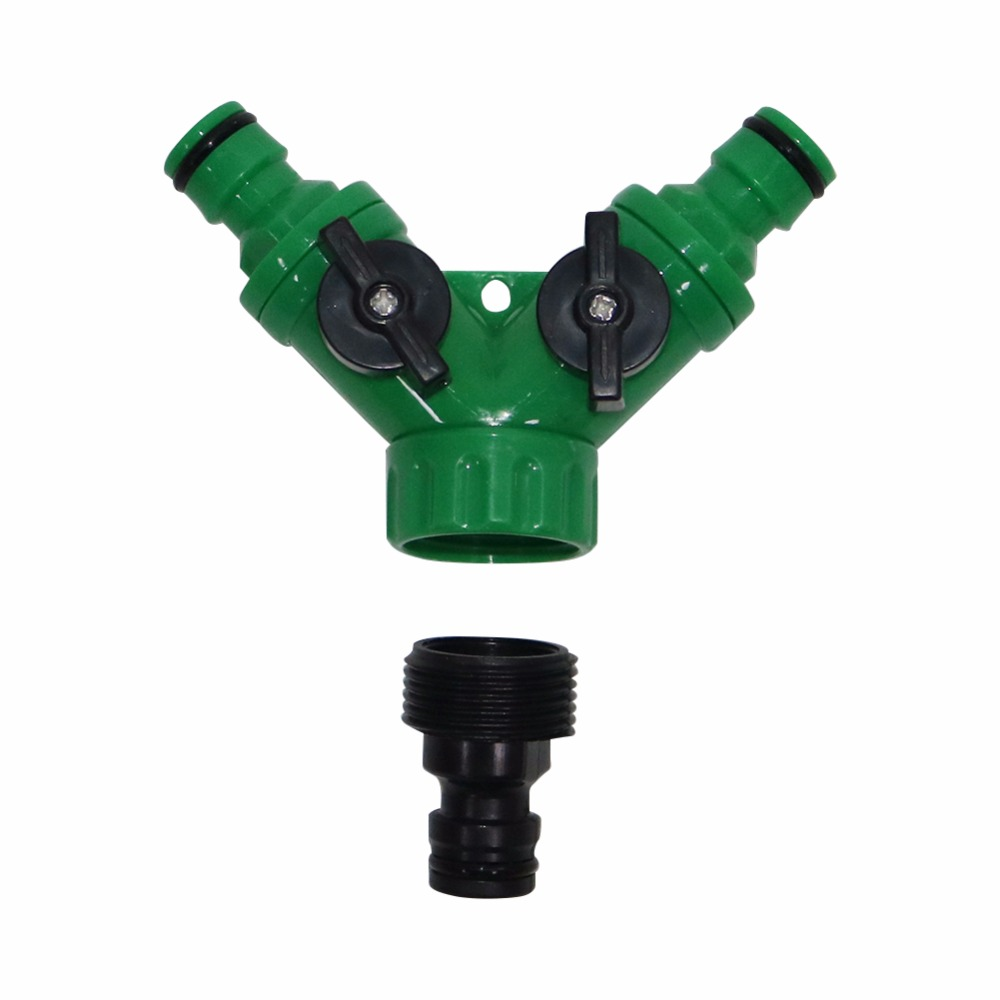 """1set 3/4""""Female Thread Y Shape Connector With 3/4""""Male Thread Tap Nipple Joint Quick Coupling Drip Garden Irrigation System tool"""